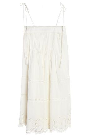 ANTIK BATIK Pintucked broderie anglaise cotton dress