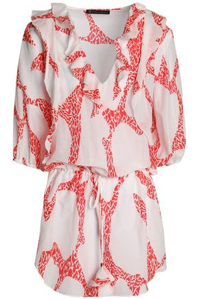 VIX PAULAHERMANNY Ruffled printed cotton and silk-blend coverup