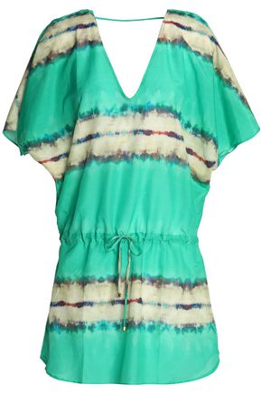VIX PAULA HERMANNY Printed cotton and silk-blend coverup