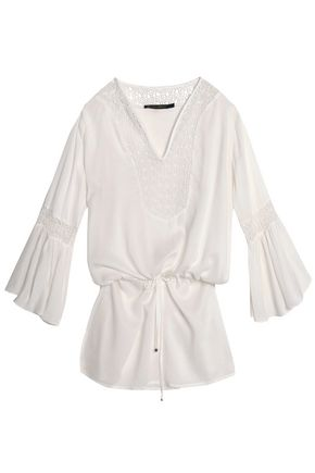 VIX PAULA HERMANNY Bella crochet-paneled sateen coverup