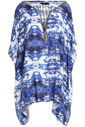 VIX PAULA HERMANNY Bead-embellished printed jersey coverup