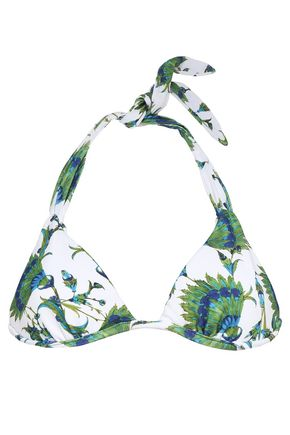 VIX PAULA HERMANNY Printed stretch-knit triangle bikini top