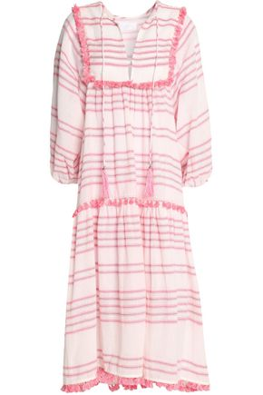 ZIMMERMANN Tassell-trimmed striped stretch-cotton gauze cover up