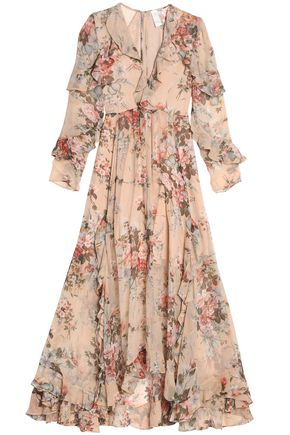 ZIMMERMANN Ruffled floral-print silk-georgette maxi dress