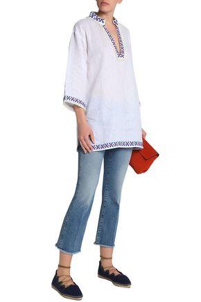 e48809e5e11404 ... TORY BURCH Embroidered linen-gauze tunic ...