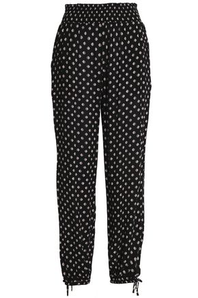 TORY BURCH Bow-detailed jacquard skinny pants