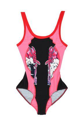 STELLA McCARTNEY Printed cutout stretch-knit swimsuit
