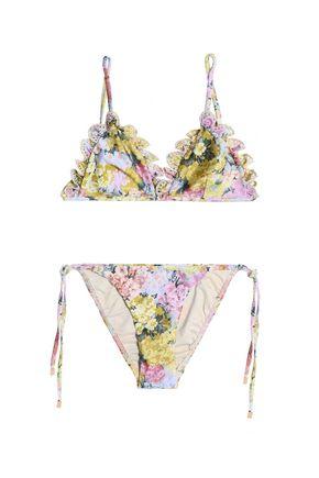 ZIMMERMANN Low-rise floral-print bikini