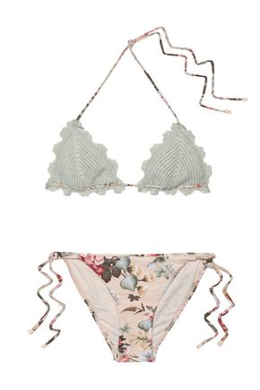 ZIMMERMANN Crocheted and floral-print stetch-knit bikini