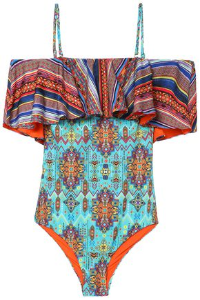 MATTHEW WILLIAMSON Cold-shoulder printed swimsuit