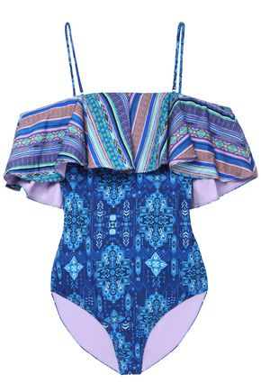 MATTHEW WILLIAMSON Cold-shoulder ruffled printed swimsuit