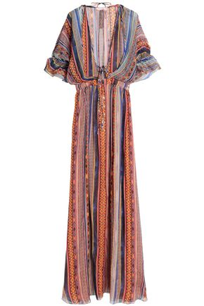 MATTHEW WILLIAMSON Saya gathered striped silk-chiffon maxi dress