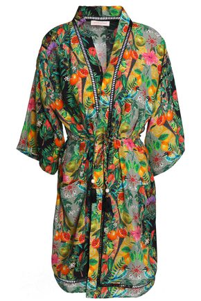MATTHEW WILLIAMSON Lattice-trimmed printed silk coverup