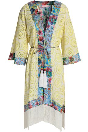 MATTHEW WILLIAMSON Fringed broderie anglaise cotton and silk-blend coverup