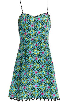 MATTHEW WILLIAMSON Pompom-trimmed printed silk mini dress