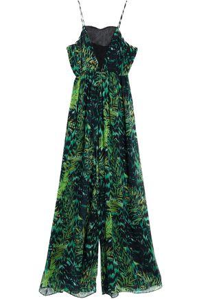 MATTHEW WILLIAMSON Lace-paneled printed silk-chiffon jumpsuit
