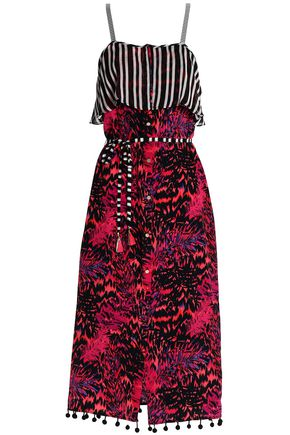 MATTHEW WILLIAMSON Pompom-trimmed printed silk midi dress