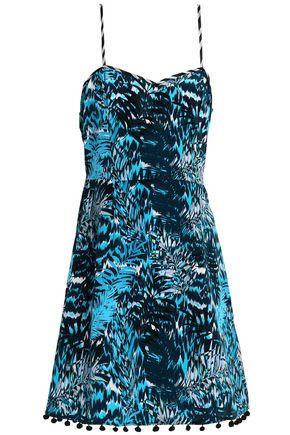 MATTHEW WILLIAMSON Pompom-trimmed printed silk mini dress