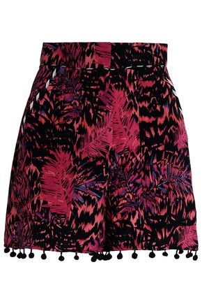MATTHEW WILLIAMSON Pompom-trimmed printed silk shorts