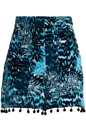 MATTHEW WILLIAMSON Pompom-trimmed printed silk shorts