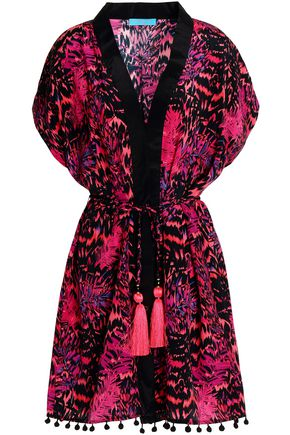 MATTHEW WILLIAMSON Pompom-trimmed printed silk coverup