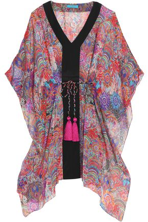 MATTHEW WILLIAMSON Tasseled printed silk-chiffon kaftan
