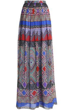 MATTHEW WILLIAMSON Gathered printed silk-chiffon maxi skirt
