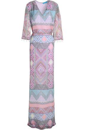 MATTHEW WILLIAMSON Pom pom-trimmed printed silk-chiffon maxi dress
