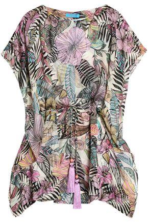 MATTHEW WILLIAMSON Tasseled floral-print silk-chiffon kaftan