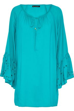 VIX PAULAHERMANNY Cutout embroidered voile coverup
