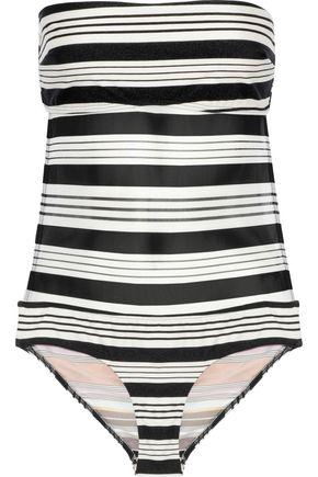 ZIMMERMANN Open-back mesh-paneled striped bandeau swimsuit