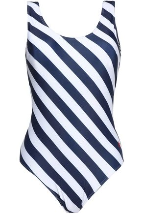 PERFECT MOMENT Two-tone striped stretch-knit swimsuit
