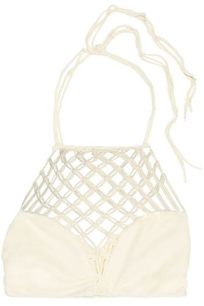 MIKOH Cutout stretch-knit halter bikini top