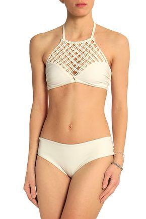 MIKOH Macramé halterneck bikini top