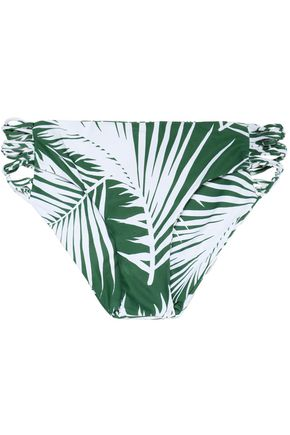 MIKOH Low-rise two-tone printed cutout stretch-knit bikini briefs