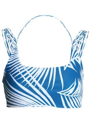 MIKOH Two-tone printed stretch-knit bikini top