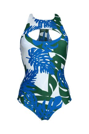 MIKOH Cutout printed stretch-knit swimsuit