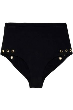HEIDI KLUM SWIM High-rise eyelet-embellished stretch-knit bikini briefs