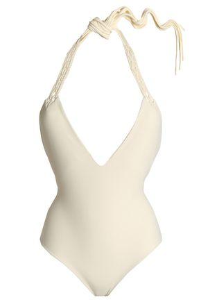 MIKOH Macramé-paneled halterneck swimsuit