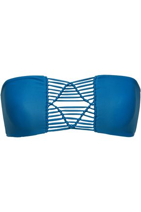 MIKOH Tonga macramé-paneled bandeau bikini top