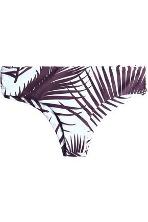 MIKOH Low-rise two-tone printed stretch-knit bikini briefs
