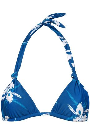 MIKOH Knotted floral-print triangle bikini top