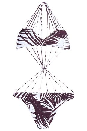 MIKOH Strap-detailed printed swimsuit