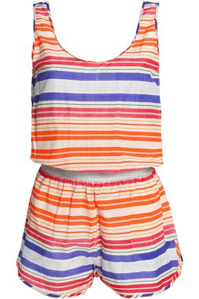 STELLA McCARTNEY Striped cotton and silk-blend playsuit
