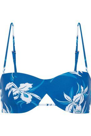 MIKOH Cutout floral-print bikini top
