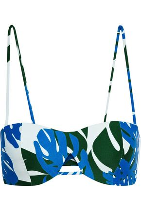 MIKOH Cutout printed bandeau bikini top