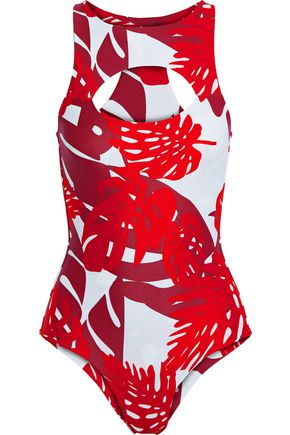 MIKOH Cutout printed swimsuit