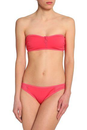 STELLA McCARTNEY Mesh-paneled zip-detailed bandeau bikini top