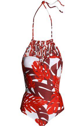 MIKOH Macramé-paneled printed halterneck swimsuit