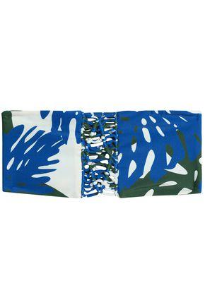 MIKOH Macramé-trimmed printed bandeau bikini top